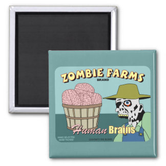 Zombie Farms Fruit Crate Label Square Magnet