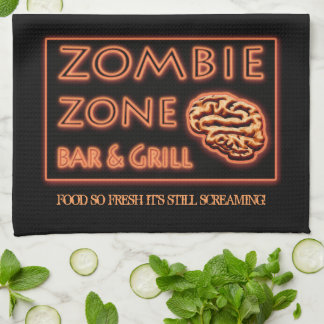 Zombie Food So Fresh Still Screaming Halloween Tea Towel