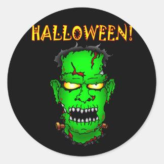 Zombie Frankenstein Classic Round Sticker