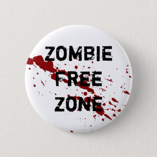Zombie Free Zone 6 Cm Round Badge