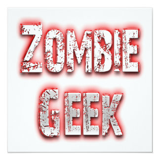 Zombie Geek Red 13 Cm X 13 Cm Square Invitation Card