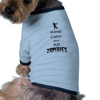 Zombie Gift Keep Calm and Kill Zombies Ringer Dog Shirt