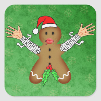 Zombie Gingerbread Square Sticker
