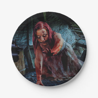 Zombie Girl Apocalypse Party Paper  Cake Plate