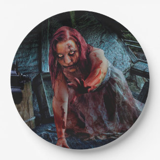 Zombie Girl Apocalypse Party Paper Plate