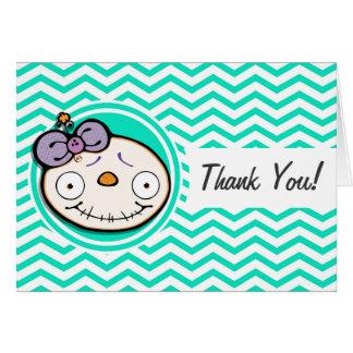 Zombie Girl; Aqua Green Chevron Greeting Cards