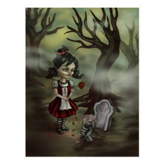 Zombie Girl Finds True Love in a Graveyard Postcard