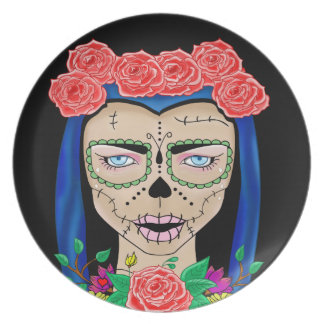Zombie girl illustration with a crown of roses plate