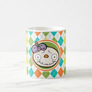 Zombie Girl on Colorful Argyle Pattern Coffee Mug