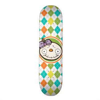 Zombie Girl on Colorful Argyle Pattern Skateboard