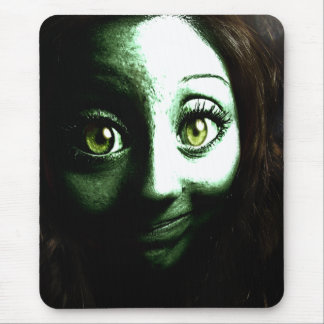 Zombie Girl Teenager with BIG eyes Mousepads