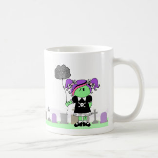 Zombie Girl with Brain Balloon in Cemetery Mug
