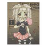 Zombie goth girl cute postcard undead big eye