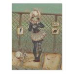 Zombie goth girl cute postcard undead jackalope