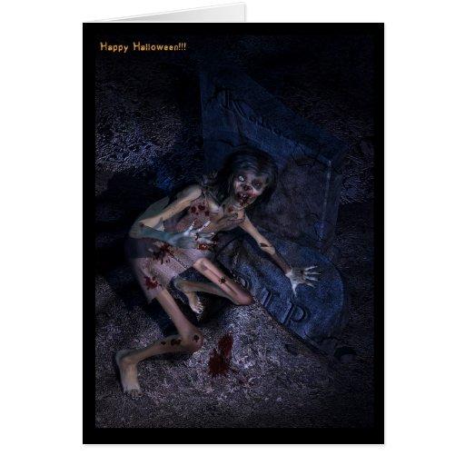 zombie graves halloween card