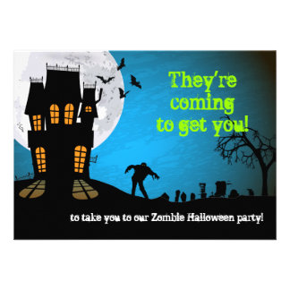 Zombie Graveyard Halloween Party Announcement