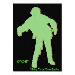 """Zombie Green Silhouette 5"""" X 7"""" Invitation Card"""