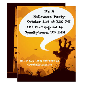 Zombie Halloween Party Card