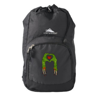 zombie hand making heart backpack