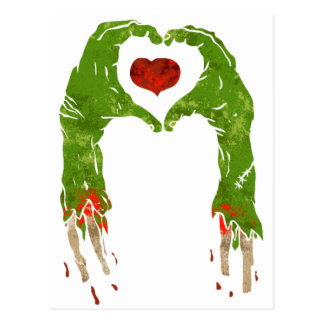 zombie hand making heart postcard