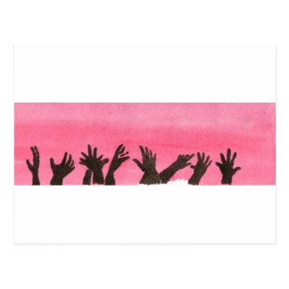 Zombie Hands On Pink Postcard