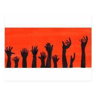 Zombie Hands Orange Postcard