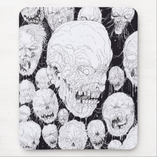 Zombie Heads Gathering Mouse Pad