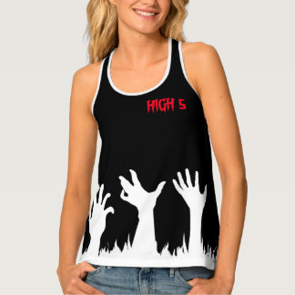 Zombie High 5 Five Halloween Black Funny custom Tank Top