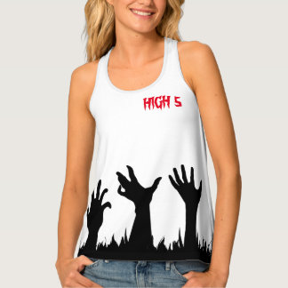 Zombie High 5 Five Halloween Funny customizable Tank Top