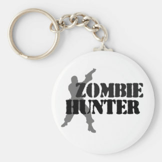 Zombie Hunter Basic Round Button Key Ring