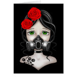 Zombie Hunter Girl with Gas Mask on Black Greeting Card