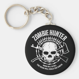 zombie hunter undead living dead basic round button key ring