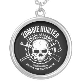 zombie hunter undead living dead silver plated necklace