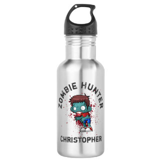Zombie Hunter with Blood Splatter Creepy Cool 532 Ml Water Bottle