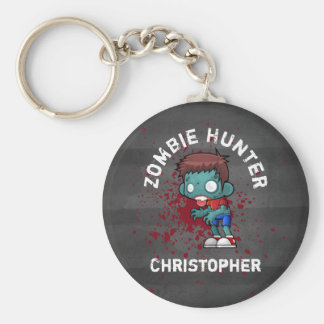 Zombie Hunter with Blood Splatter Creepy Cool Basic Round Button Key Ring