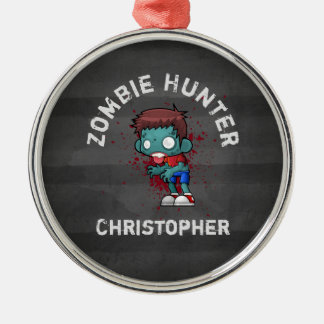 Zombie Hunter with Blood Splatter Creepy Cool Christmas Ornament