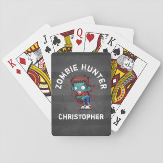 Zombie Hunter with Blood Splatter Creepy Cool Playing Cards