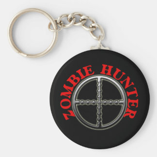 Zombie Hunter with Crosshairs Basic Round Button Key Ring