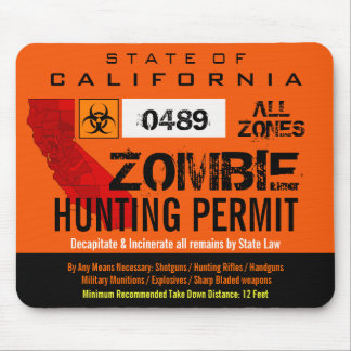 Zombie Hunting Permit Mousemat