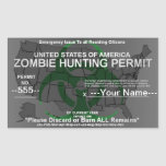Zombie hunting permit template rectangular sticker