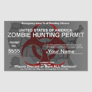 Zombie Hunting Permit Template (Red on Grey) Rectangular Sticker