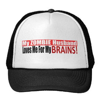 Zombie Husband Loves Brains BUMPER Design Cap