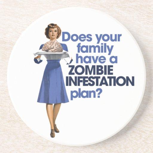 Zombie Infestation Plan Beverage Coasters