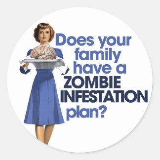 Zombie Infestation Plan Round Sticker