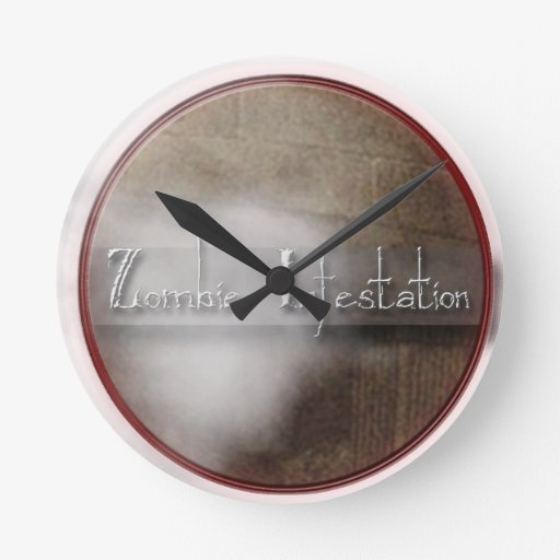 Zombie Infestation T Shirts and Gifts Round Wall Clocks