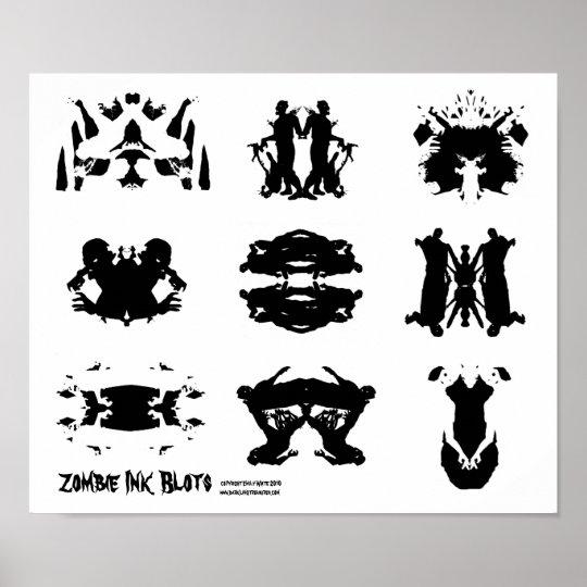 Zombie Ink Blot Rorschach dark psychology Art Poster