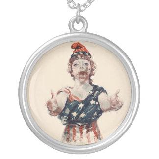 Zombie Lady Liberty Round Pendant Necklace