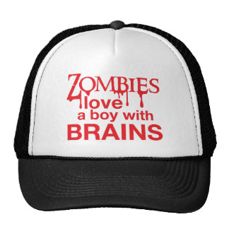 Zombie love a boy with brains mesh hat