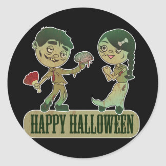 Zombie Love, Happy Holloween Classic Round Sticker
