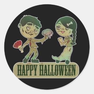Zombie Love, Happy Holloween Round Sticker